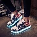 2016 mujeres de los zapatos ocasionales zapatos luminosos led iluminan zapatos Led cordones de los zapatos para adultos más tamaño