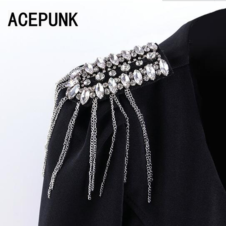 2019 New Come Stage Performance Clothing Accessories Brooch Fashion Nightclub Punk Men And Women Metal Tassel Badges Epaulette
