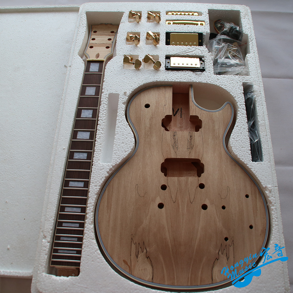 LP Style Electric Guitar DIY Kit Set African Mahogany Okoume Body Neck Rosewood Fingerboard Guitar Accessories white tiger pattern 3a grade maple veneer lp style electric guitar diy kit african mahogany okoume body neck rosewood fretboard