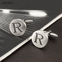 Лептон буквы r запонки «Алфавит» для мужчин античные Посеребренные