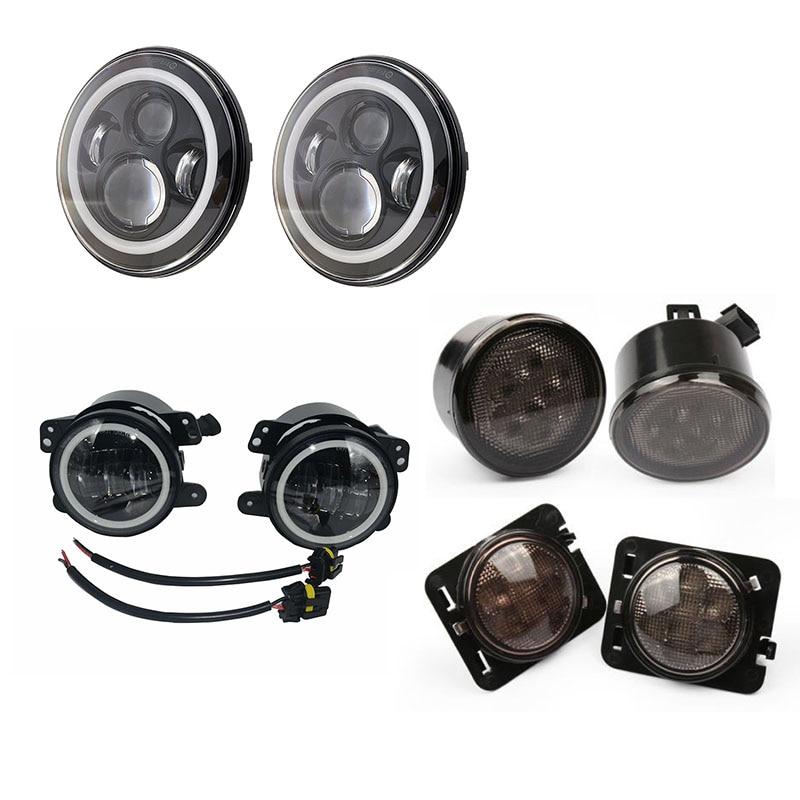 7 palcové kulaté 40W LED Halo Angel oči světlometů + 4 '' 30W - Autosvětla