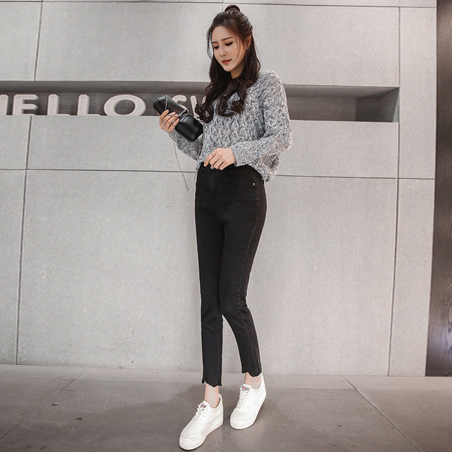 e494ef85441 KJA251 Women High waist Jeans Female Korean Edition Black Skinny Trousers  Pencil Pants High Waist comfort