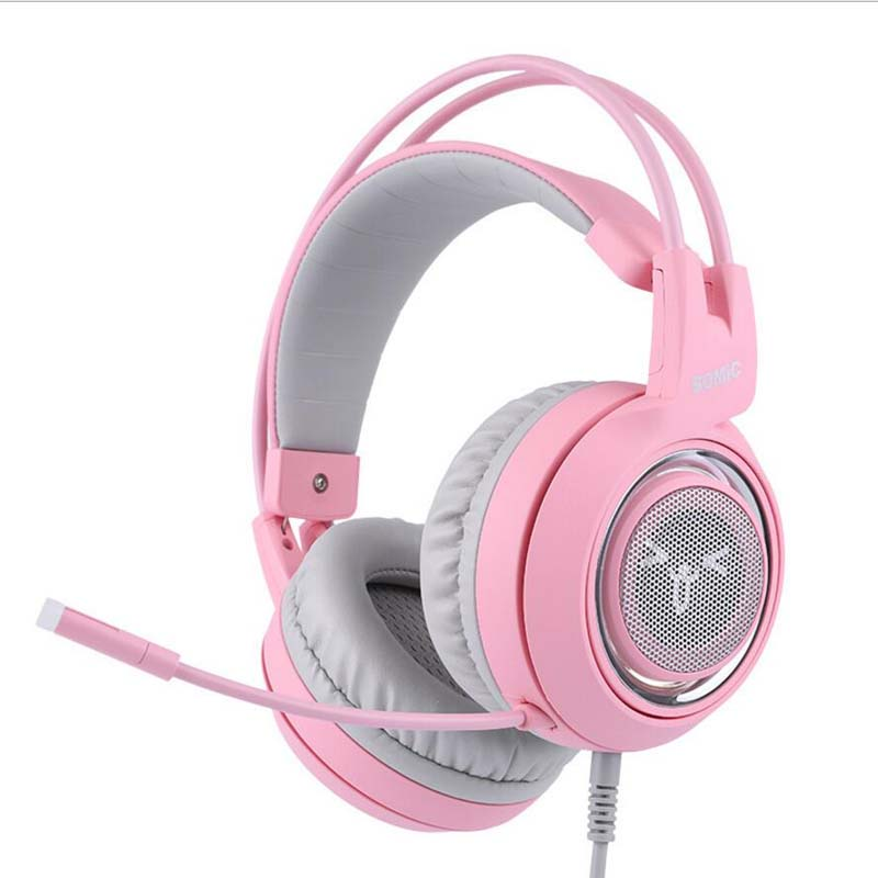 593cffa68e8 SOMIC G951 Pink USB Wired Gaming Headphone 7.1 Virtual with Microphone Cat  Headsets for PC for PS4 ENC Noise Cancelling-in Headphone/Headset from  Consumer ...