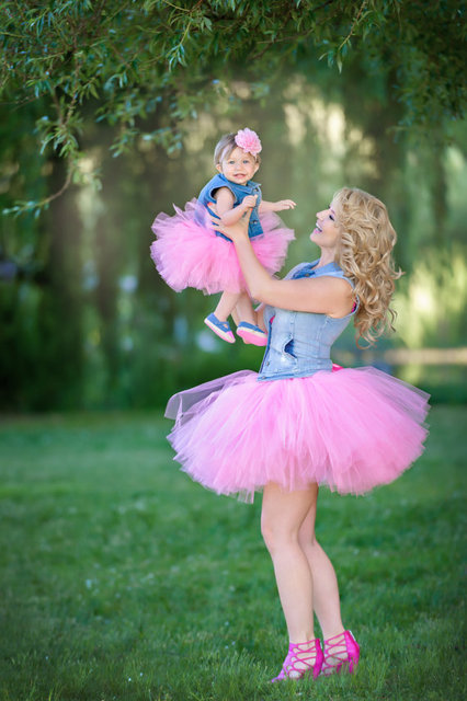 e80473404baf54 Mommy and Me Matching Tutu Skirts Set Pink Baby Girls Tutu Skirt Family  Matching Outfirts Adult Mother and Daughter Tutus Skirts