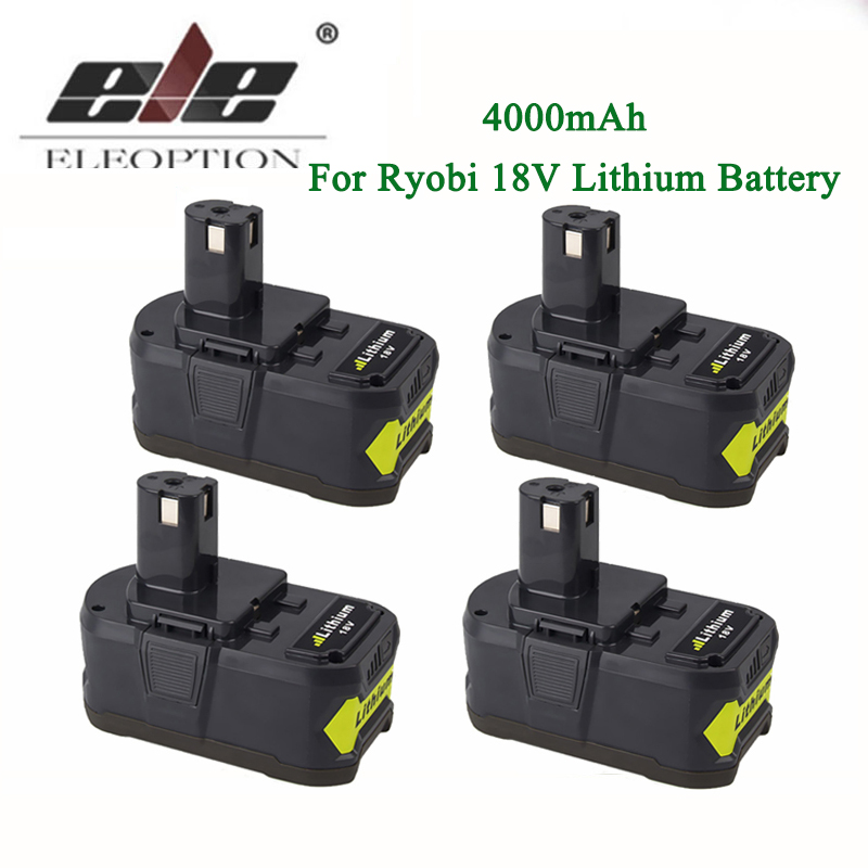 ELEOPTION 4x 18V 4000mAh Li-Ion Rechargeable Battery For Ryobi 18V Lithium Battery P108 RB18L40 P107 P104 For ONE+ BIW180 eleoption 2pcs 18v 4000mah li ion rechargeable power tool battery for hitachi bsl1830 bsl1840 330067