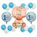 19 шт./лот для маленьких мальчиков и девочек 1st на день рождения вечерние фольги воздушные шары с гелием 10 дюймовое синих латексных шаров Baby ...
