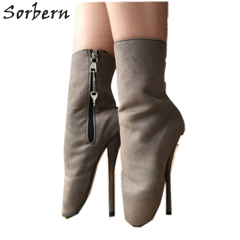 Sorbern Ankle-Boots Ballet-Heels Faux-Suede Custom-Color Plus-Size Womens Ladies  title=