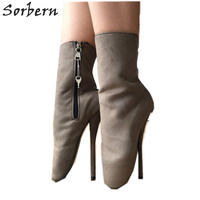 Sorbern Ankle Boots For Womens Ballet Heels Faux Suede 2019 PLus Size Zapatos Mujer Custom Color Ladies Party Boots