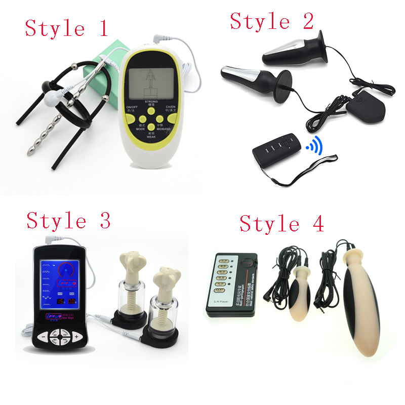 SM Play Adult Games ,Electro Shock Kit , Electric Shock Nipple Clamps Massagers Sets ,Anal Plug E-Stimulation Medical Sex Toys
