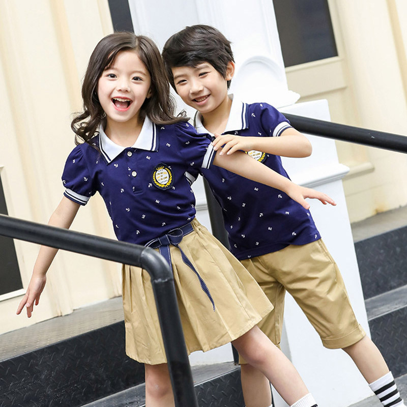 Summer School uniforms Costumes T Shirt Shorts Skirt Suit Girls Boys Kindergarten Junior Middle School Students Uniform