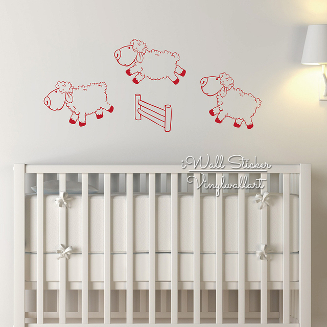 Lovely Sheep Wall Sticker Baby Nursery Decal Animal Sleeping Kids Room Children