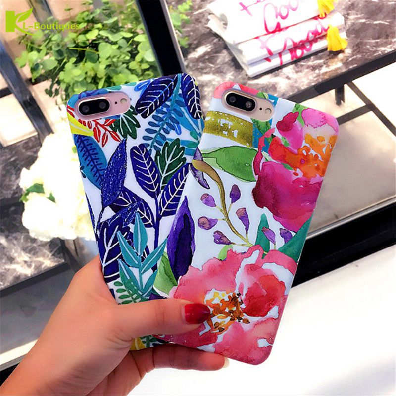 KL-Boutiques Art Flowers Painting Back Cover for iPhone6s 6 Plus For Fundas iPhone 6S 7 7Plus Watercolor Leaf Hard PC Phone Case