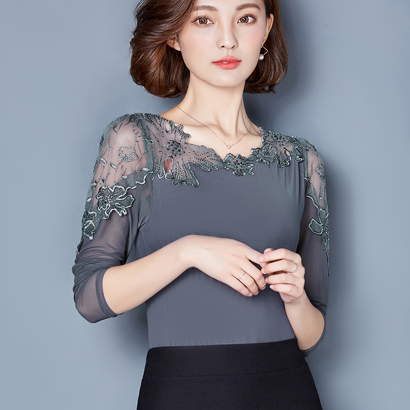 New 2017 summer Fashion Women Elegant Flower lace Embroidery Organza Blusas Feminina Casual Mesh hollow out