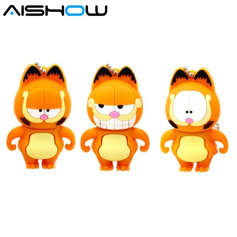 100% real capacity lovely cartoon Garfield cat 128MB 1GB 4GB 8GB 16GB 32GBUSB 2.0 Flash Drive pendrive thumb Car Key Memory Card