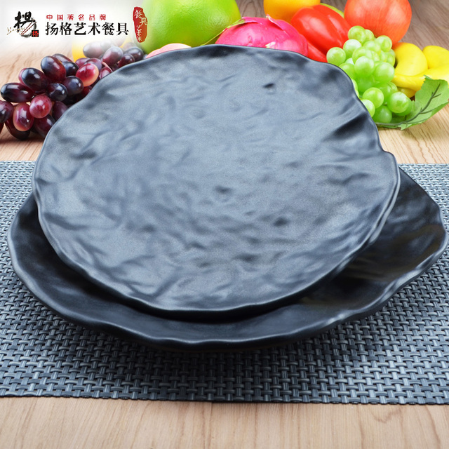 12inch Black plate melamine plates large Dinner plates tray fried rice Dish plato High quality Plates & 12inch Black plate melamine plates large Dinner plates tray fried ...