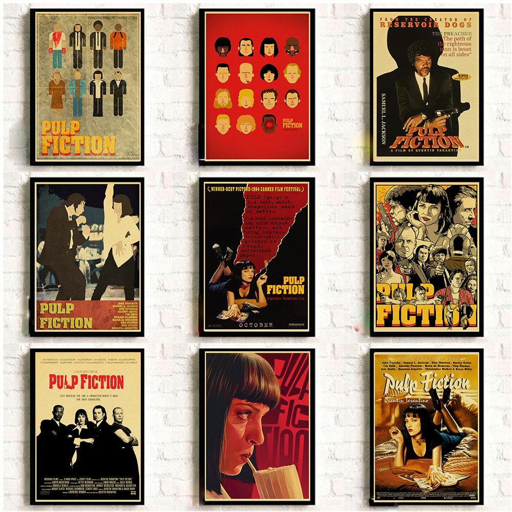 PULP FICTION 90s Tarantino Movie Poster A3 Bedroom Wall Club Cinema Bar Decor