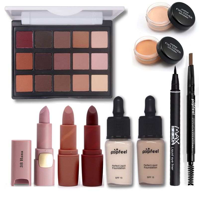 Makup Tool Kit Including Matte Eyeshadow Lipstick Foundation Concealer Eyebrow Pencil Eyeliner Makeup Set Cosmetic Kit Maquiagem saiantth makeup tool set kit combination 15 color concealer palette toothbrush makeup brush water drops sponge puff cosmetic