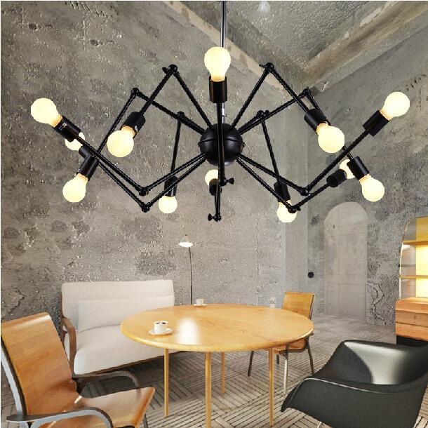 Black spider lamp industrial Loft Vintage pendant light E27 Edison bulb iron black painted for living/ dining room home