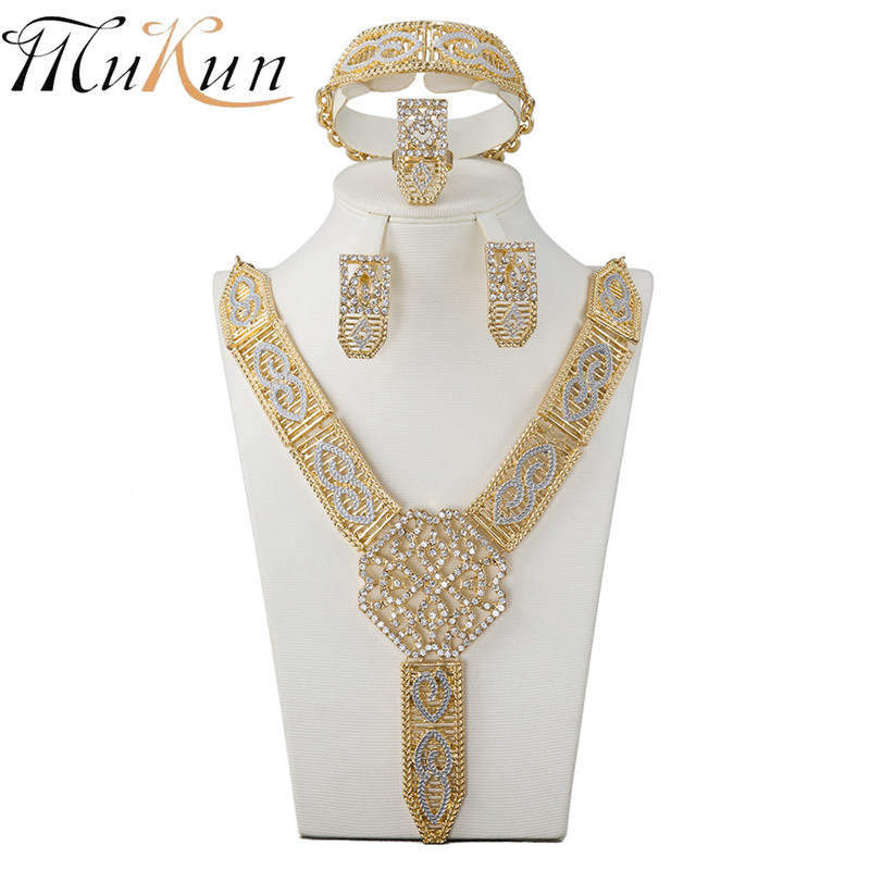 MUKUN 2017 African Costume Jewelry Sets Gold-color Women Wedding Bridal Accessories Crystal Necklace Bracelet Earrings Set