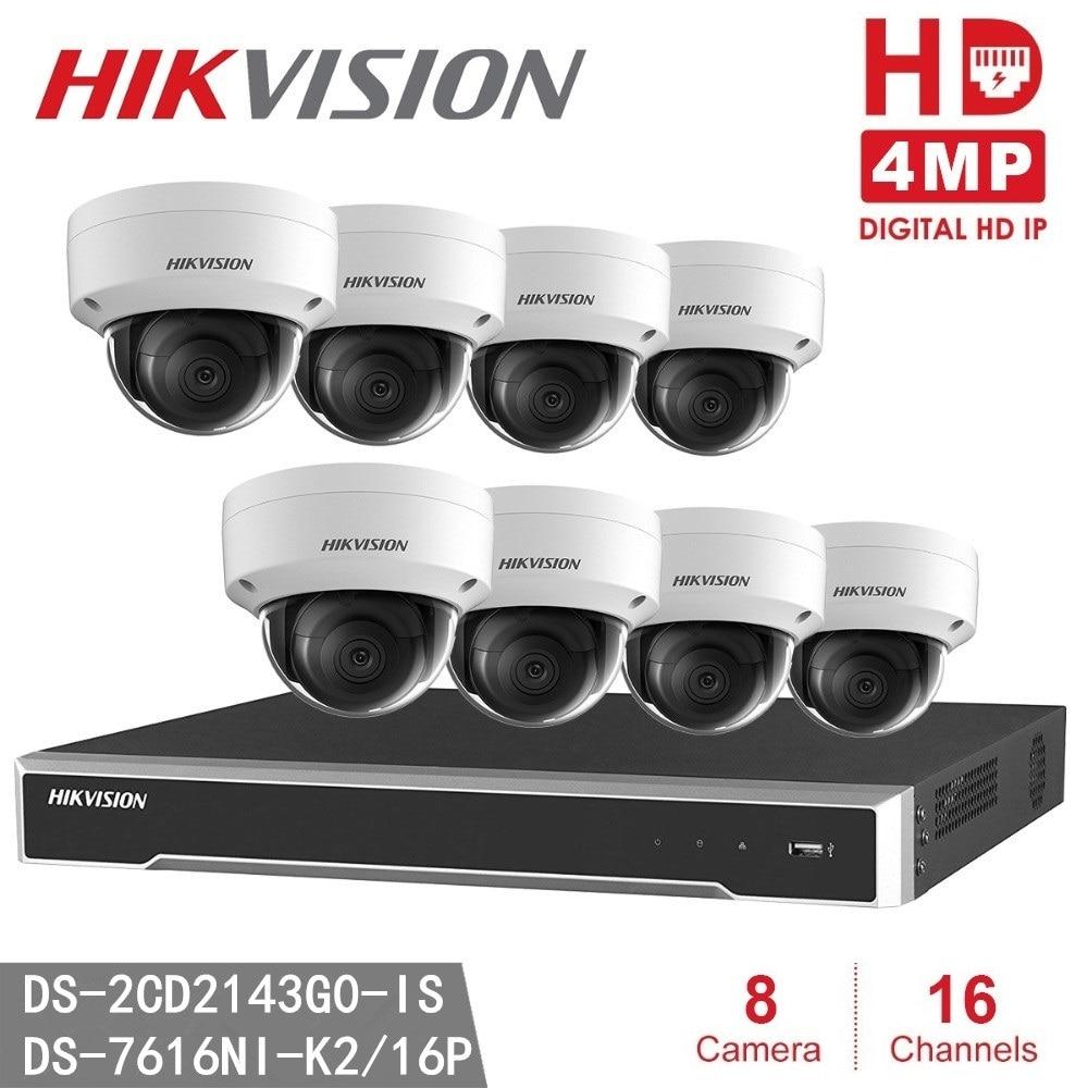8 pcs Hikvision DS-2CD2143G0-IS ONVIF 4MP IP H.265 POE P2P + Hikvision NVR DS-7616NI-K2/16 P 8MP Résolution D'enregistrement NVR CCTV