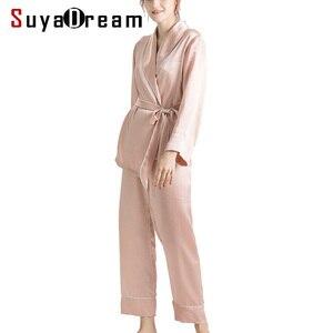 Image 1 - SuyaDream Women Silk Pajama Sets 100%REAL SILK SATIN Robes and Pants 2020 New Spring Sleepwear Pink