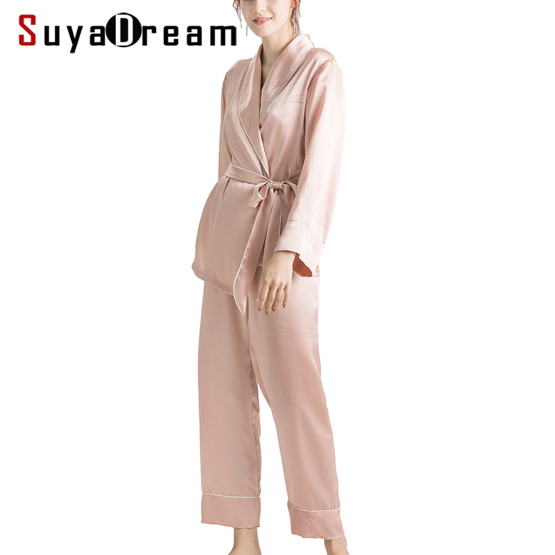 Women Silk Pajama Sets 100%REAL SILK SATIN Robes And Pants 2019 New Spring Sleepwear Pink