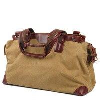 Casual Canvas Panelled Travel Bags Simple Zipper Large Capacity Unisex Handbag Khaki Blue And Green Colors