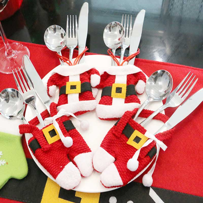 NEW year gift Fancy Santa Christmas table Decorations Silverware Holders Pockets Dinner  ...