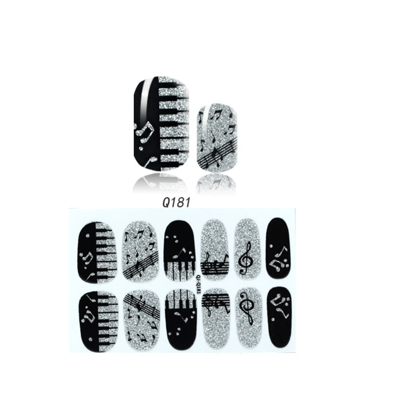 BlingNail 3pcs 9.4x6cm; Package size: 15x7.5cm Full Cover Nail Art Stickers Musical Note, Glitter Powder Stickers