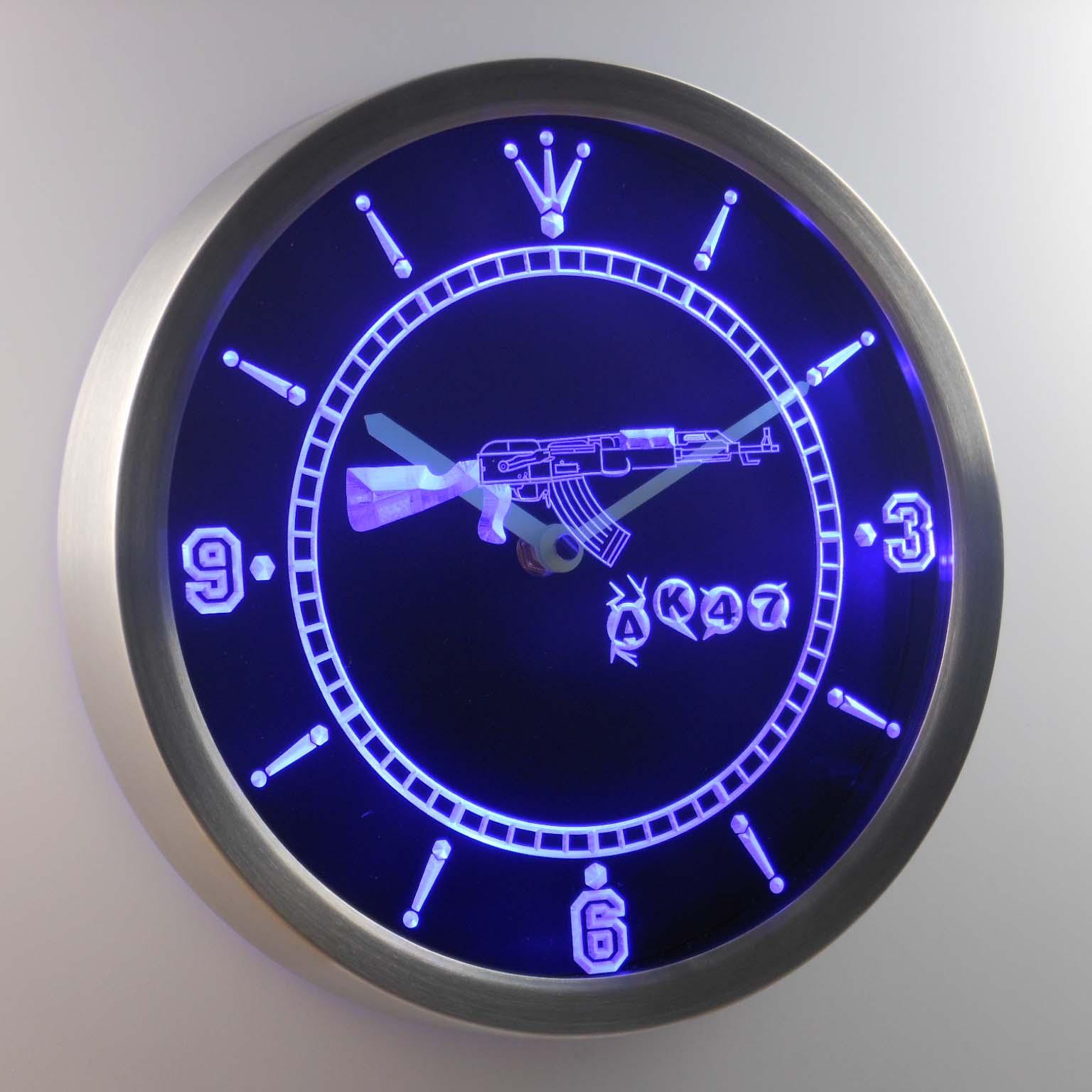 nc0089 AK47 NEW KALASHNIKOV Airsoft Gun Neon Sign LED Wall Clock