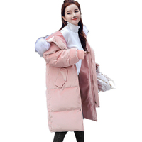 New Faux Fur Collar Women Padded Jacket 2017 Winter Soild Long Sleeve Hooded Thick Silm Velvet Long Quilted Coats Casacas Mujer