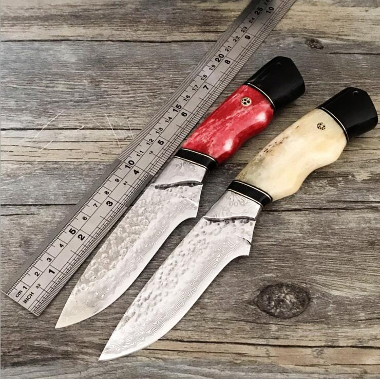 PSRK High hardness VG10 Damascus knife self-defense wild jungle to straight knife collection of outdoor survival Camping tool