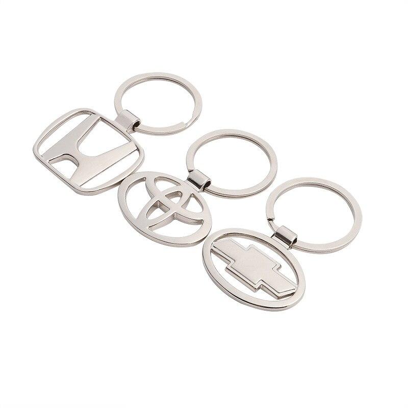 Car Styling 3D Metal+Leather Emblem Car Key Ring Keychain Key Holder Logo For Audi benz Nissan Honda Vw Toyota YSK-0014