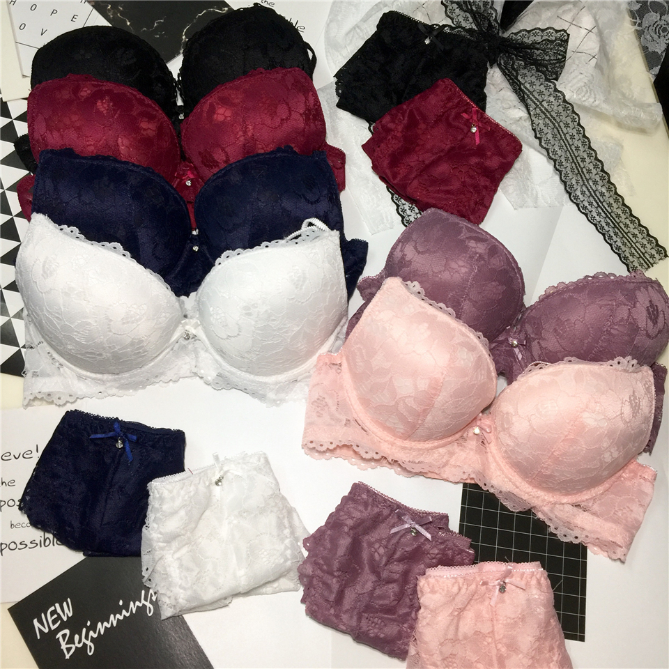 New fashion sexy push up   bra     set   deep v   bra   thick lingerie   set   lace women underwear   set   cotton comfortable A B cup