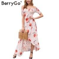 BerryGo Off Shoulder Boho Summer Dress Women High Waist Irregular Cross Long Dress Elegant Print Maxi