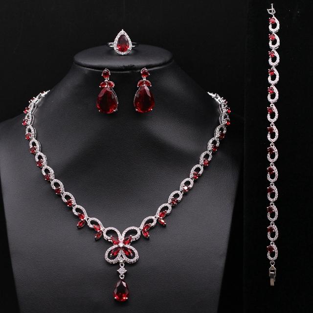 La moda de Joyería del Oro Blanco Plateó Zircon Crystal Partido Nupcial de La Boda de Las Mujeres Anillo Collar Pulsera Pendientes Conjuntos 3 Colores