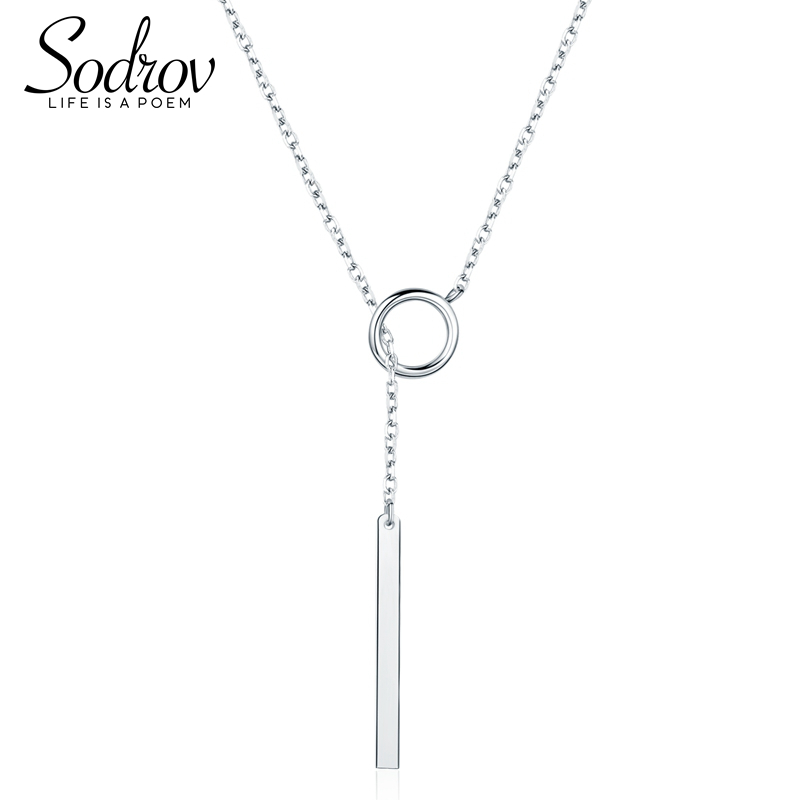 SODROV  925 Sterling Silver Bar Pendant Necklace Fine Jewelry Valentine's Gift For Women HN017