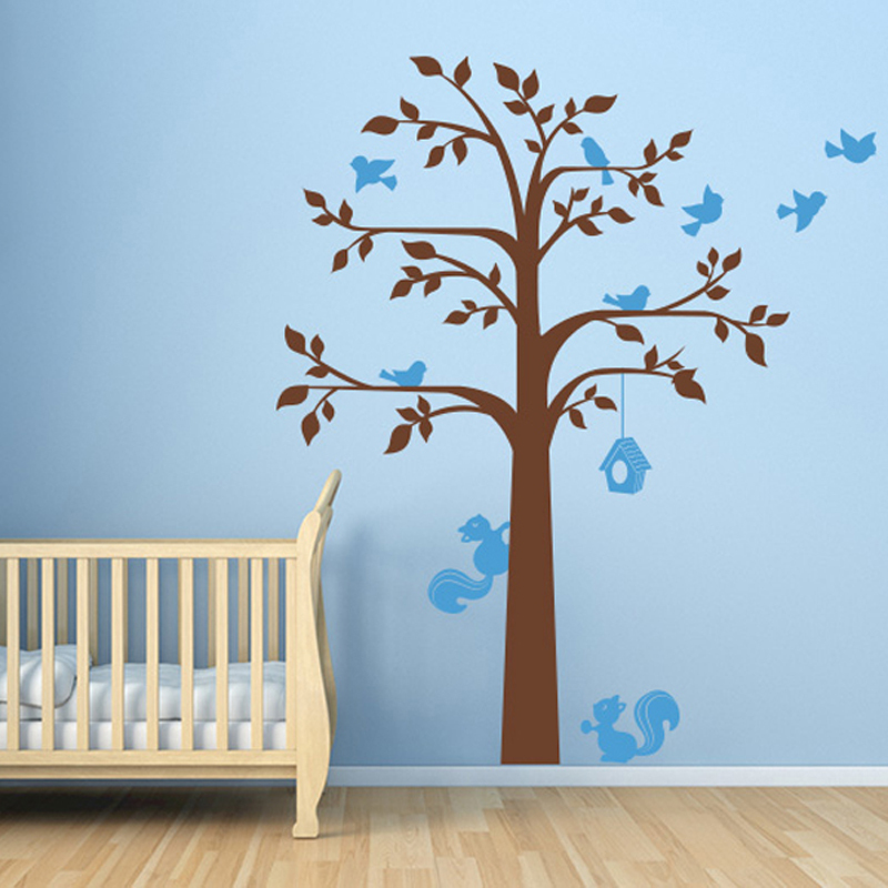 Wall Sticker Tree Birds Squirrel and Birdcage,Nursery Vinyls Wall ...