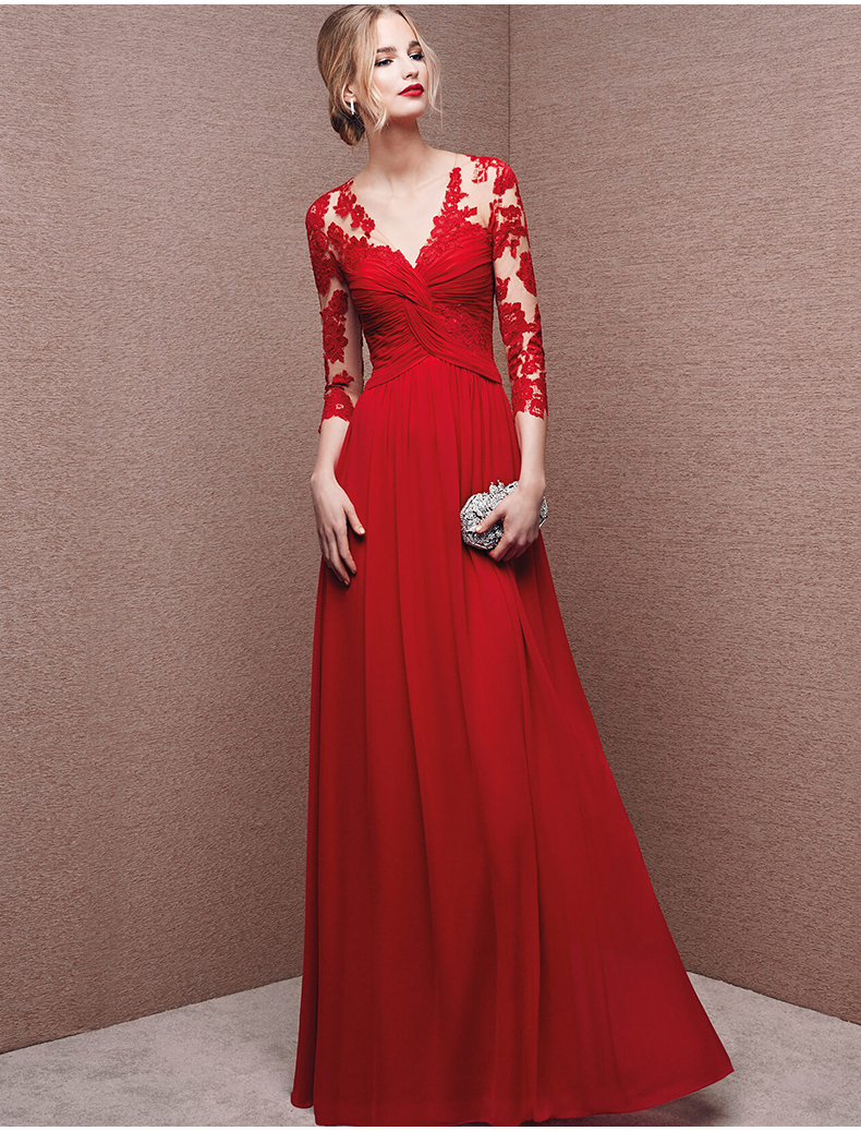 Wedding Red Long Dresses online buy wholesale long red dresses for juniors from china illusion chiffon prom sleeve a line floor length evening dress gown cheap