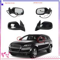 Black Left Right Heated Folding Lane Change Assist Surround Light Mirror Assembly For AUDI Q7 2007 2015 4L1 857 409 4L1 857 410