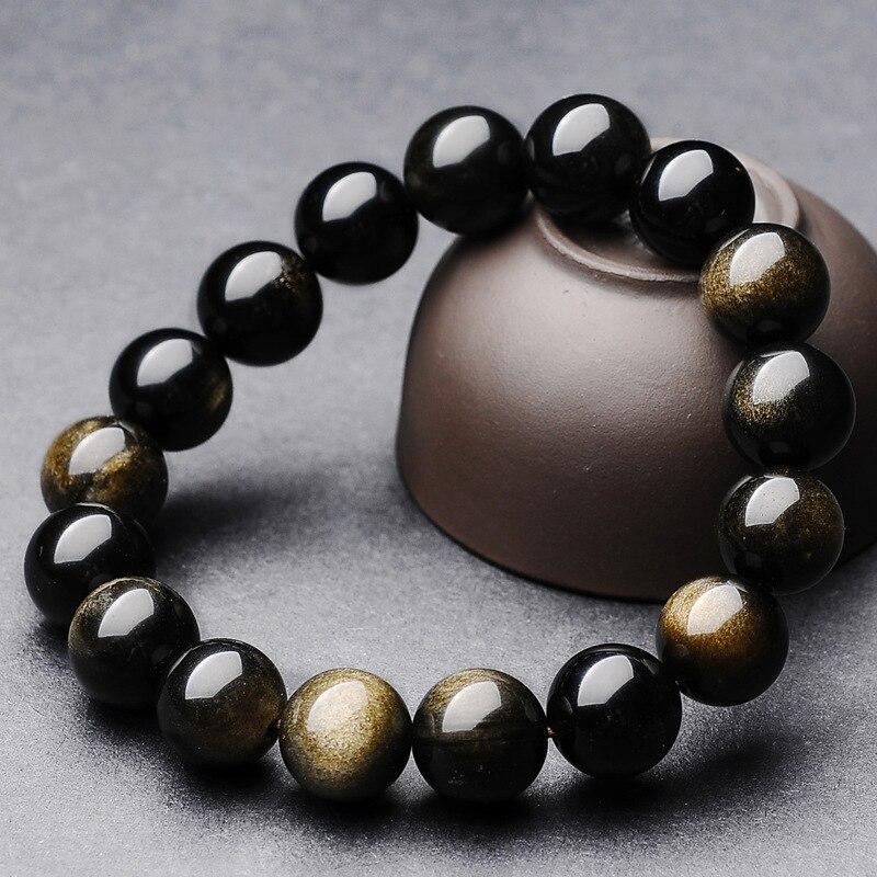 Natural gold obsidian cat eye effect gold black stone beads bracelet mens stringNatural gold obsidian cat eye effect gold black stone beads bracelet mens string