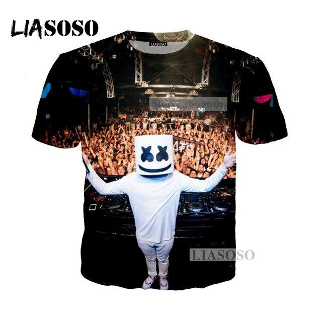 f3e142785d2a LIASOSO 2018 New 3D Print Women Men Music DJ Avicii Marshmello Tshirt  Summer T-shirt Hip Hop Pullover Casual Short Sleeve X0358