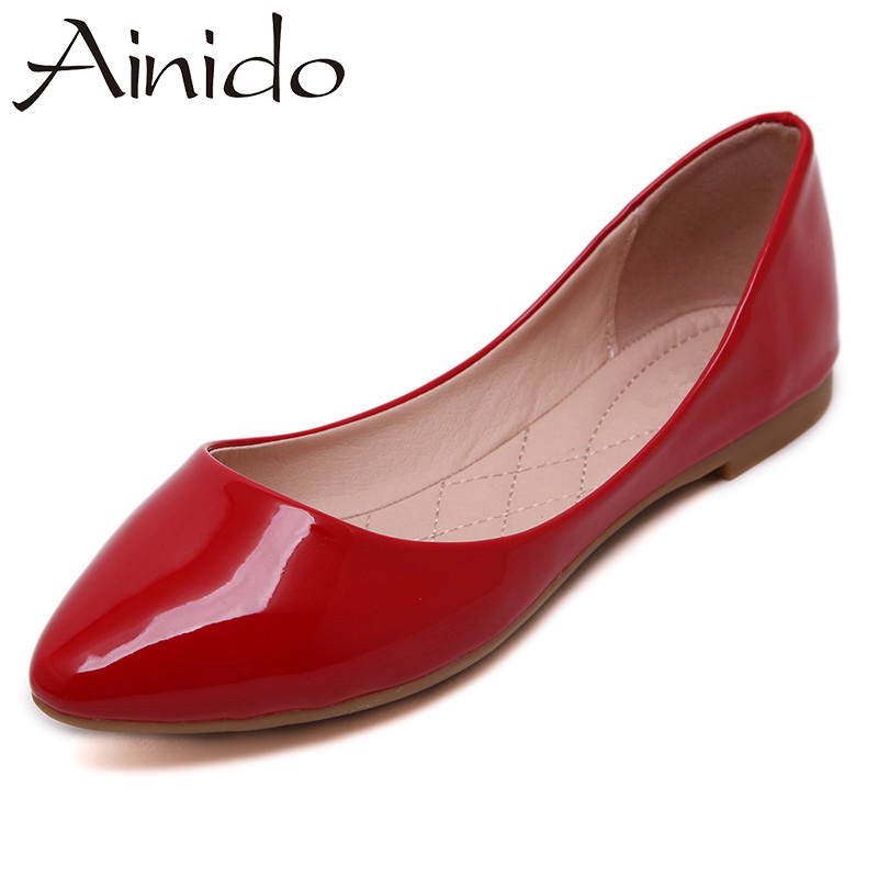 AINIDO Women Flats Candy Colors Red Black Beige Patent Leather Soft Dress Woman Ladies Comfort Shoes