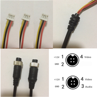 Aviation female connector cable, 4pin to MDVR,9 Pin(3pcs 3P 1.5mm) Black Cable for CCTV car Camera