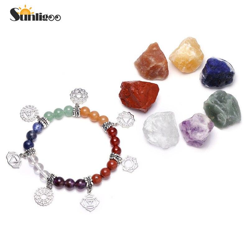 Sunligoo 7 Chakra Healing Crystals Natural Rough Raw Stones and Semi