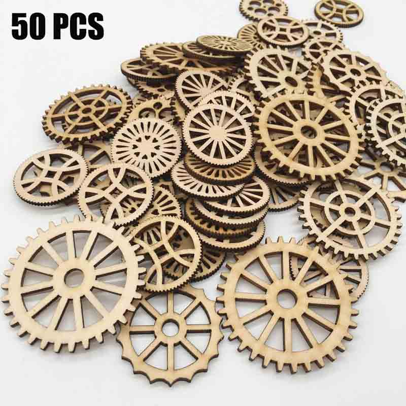 50 Pcs Unfinished Gear Wooden Mixed Shaped For DIY  Living Room Bedroom Table Wall Decor Bar Shop Hanging Wall Decoration