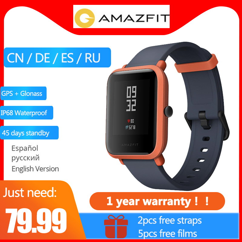 2 cinghia libera Globale Versione 1 Anno di Garanzia XIAOMI Huami Amazfit Bip delle Donne Degli Uomini di IP68 WiFi Orologi Smart GPS Gloness smartwatch