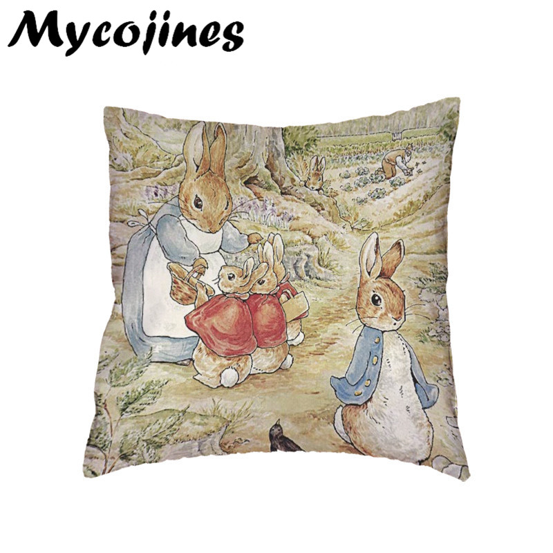 Peter Rabbit Family Cushion Cover Home Living Room Sofa Decorative Pillows Kid Holiday Cheap Gift White Polyester Pillowcase