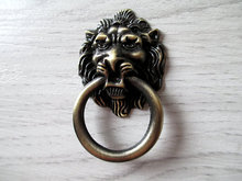 Antique Bronze Lion Head Dresser Pull Knob / Drawer Pulls Knobs Handles Rings / Door Knocker Cabinet Handles Vintage Hardware