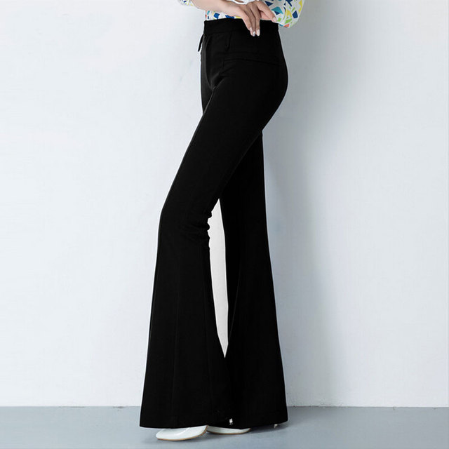 d67d0709cf4bfd Fashion Women's Trousers Ladies High Waist Stretch Black Bell Bottom Pants  Women Slim Casual Cotton Flare Leg Pants Plus Size
